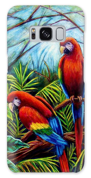 Peaceful Parrots Galaxy Case