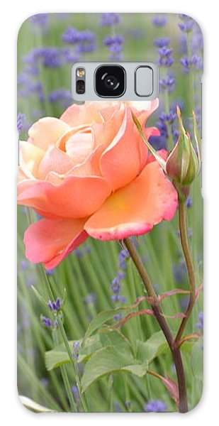 Peach Roses In A Lavender Field Of Flowers Galaxy Case