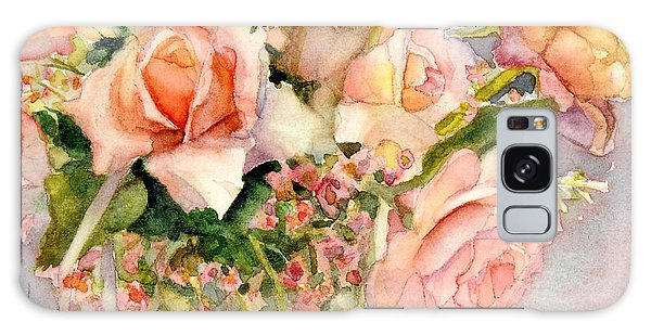 Peach Roses In Vase Galaxy Case