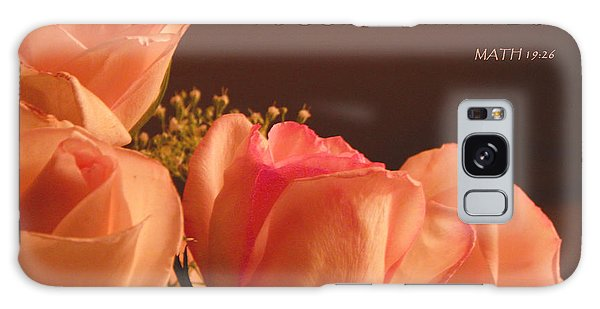 Peach Roses With Scripture Galaxy Case
