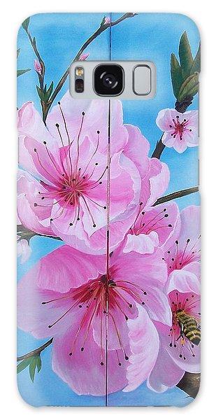 Peach Tree In Bloom Diptych Galaxy Case