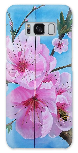 Peach Tree In Bloom Diptych Galaxy Case