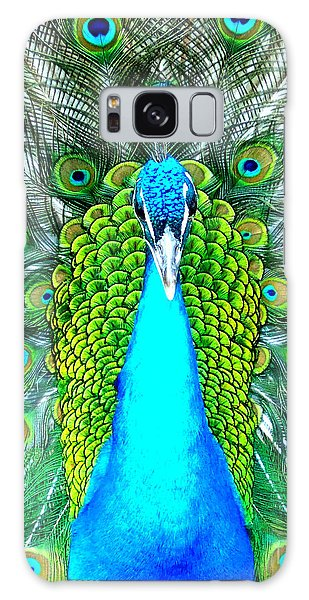 Peacock Face On Galaxy Case by Heidi Manly