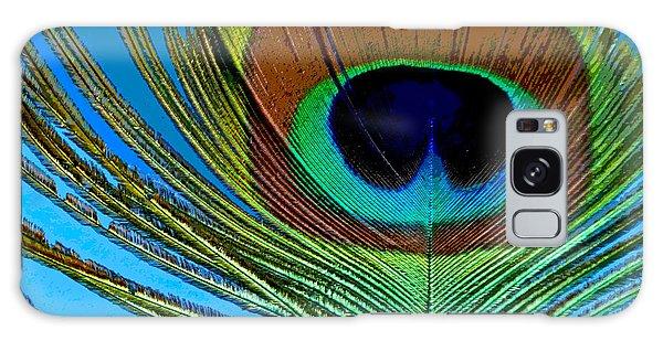Peacock Feather 3 Galaxy Case by Sally Simon