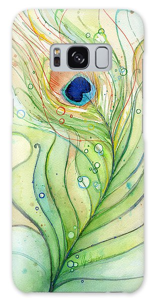 Peacock Feather Watercolor Galaxy Case