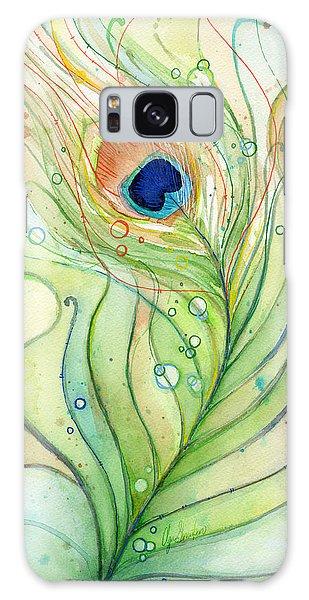 Peacocks Galaxy Case - Peacock Feather Watercolor by Olga Shvartsur