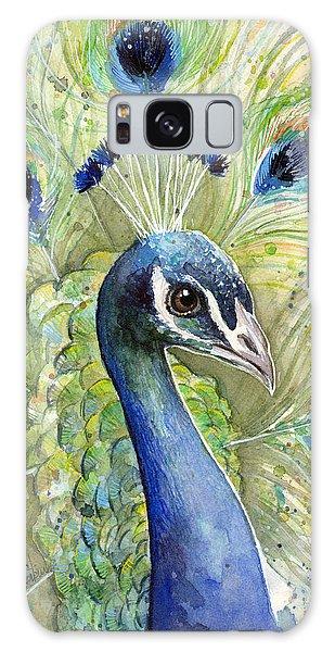 Bird Galaxy Case - Peacock Watercolor Portrait by Olga Shvartsur