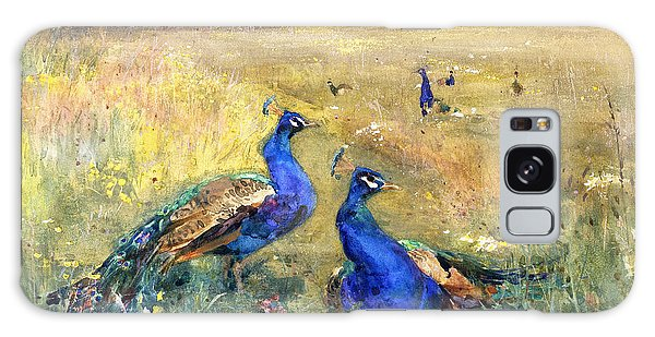 Peacocks In A Field Galaxy Case by Mildred Anne Butler