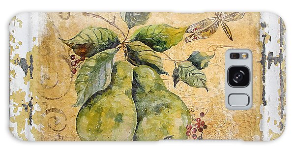 Pears And Dragonfly On Vintage Tin Galaxy Case by Jean Plout