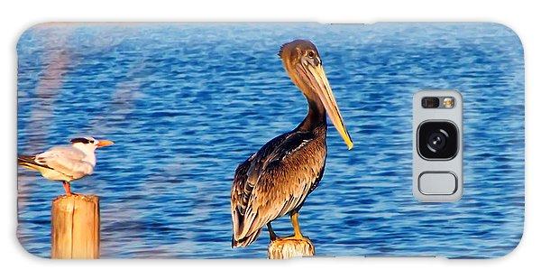 Pelican On A Pole Galaxy Case