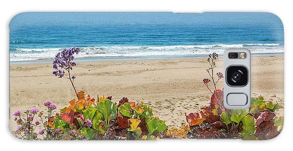 Pelicans And Flowers On Pismo Beach Galaxy Case by Debra Thompson