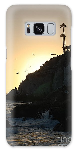 Pelicans Gliding At Sunset Galaxy Case