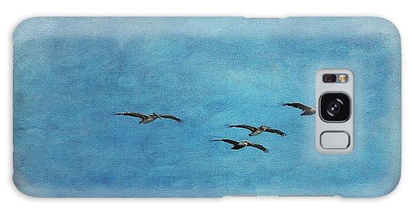 Pelicans In Flight Galaxy Case