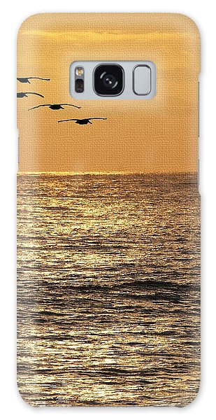Pelicans Ocean And Sunsetting Galaxy Case by Tom Janca