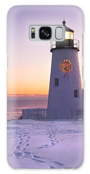 Pemaquid Point Lighthouse Christmas Snow Wreath Maine Galaxy Case by Keith Webber Jr
