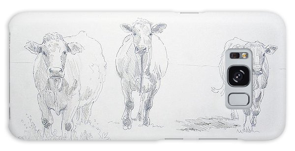 Pencil Drawing Of Three Cows Galaxy Case
