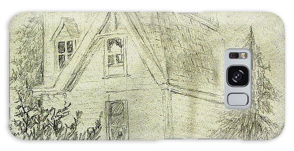 Pencil Sketch Of Old House Galaxy Case by Joseph Hawkins