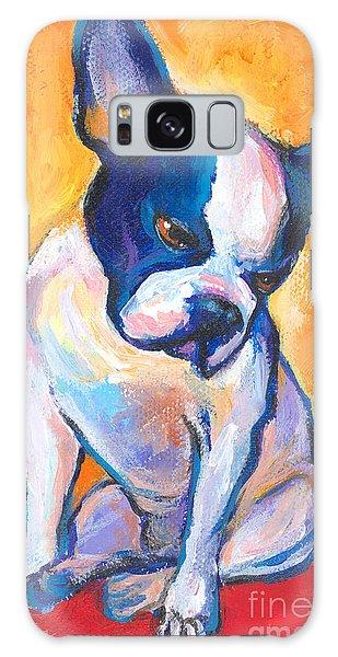 Russian Impressionism Galaxy Case - Pensive Boston Terrier Dog  by Svetlana Novikova