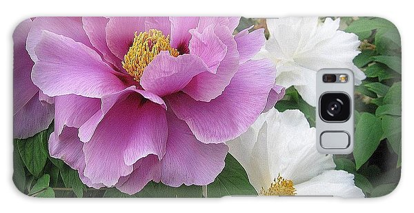 Peonies In White And Lavender Galaxy Case