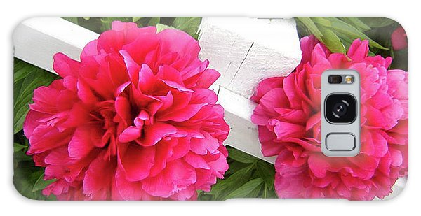 Peonies Resting On White Fence Galaxy Case by Barbara Griffin