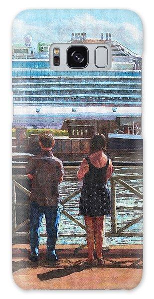People At Southampton Eastern Docks Viewing Ship Galaxy Case