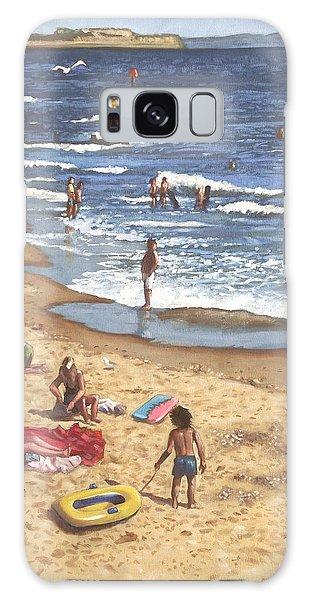 people on Bournemouth beach Blue Sea Galaxy Case by Martin Davey