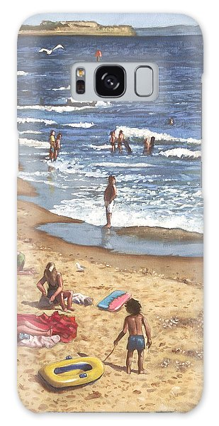 people on Bournemouth beach Blue Sea Galaxy Case
