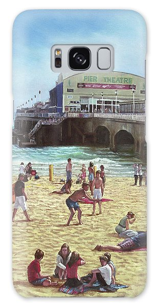 people on Bournemouth beach Pier theatre Galaxy Case by Martin Davey