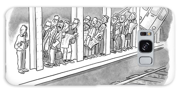 Trains Galaxy Case - People Waiting For A Subway Peek Onto The Tracks by Robert Leighton