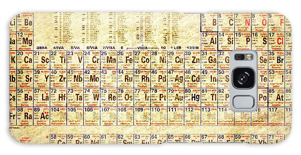 Periodic Table Of The Elements Vintage White Frame Galaxy Case by Eti Reid