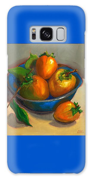 Persimmons In Blue Bowl Galaxy Case by Susan Thomas