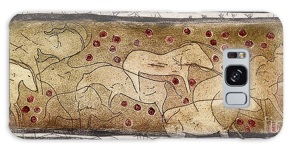 Petroglyph - Ensemble Of Red Dots And Short Strokes - Prehistoric Art - The Plains - Prarie Country Galaxy Case