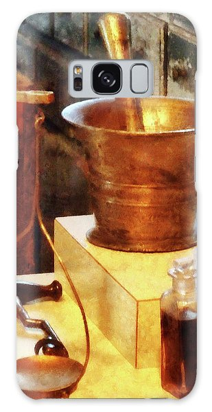 Pharmacist - Brass Mortar And Pestle Galaxy Case by Susan Savad