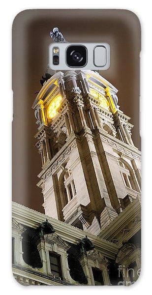 Philadelphia City Hall Clock Tower At Night Galaxy Case