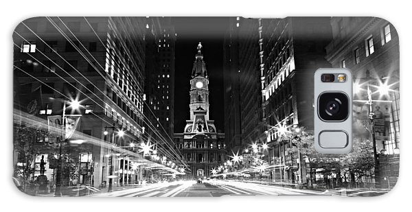 Philadephia City Hall -- Black And White Galaxy Case