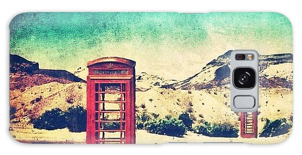 #phone #telephone #box #booth #desert Galaxy Case by Jill Battaglia