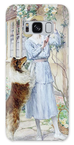 Watercolor Pet Portraits Galaxy Case - Picking Roses by William Henry Margetson