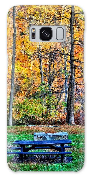 Picnic Table Galaxy Case - Picnic Table In Autumn by Dan Sproul