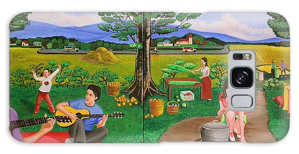 Picnic With The Farmers And Playing Melodies Under The Shade Of Trees Galaxy Case by Lorna Maza
