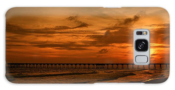 Pier At Sunset Galaxy Case