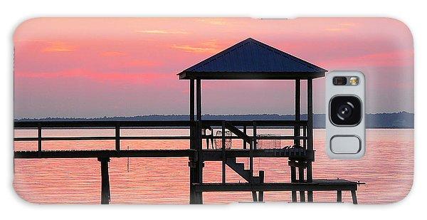 Pier In Pink Sunset Galaxy Case