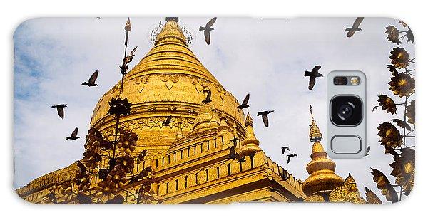 Pigeons Flying Over Shwezigon Pagoda Galaxy Case