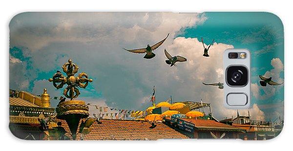 Pigeons Near Monastery In Boudnath Kathmandu Galaxy Case