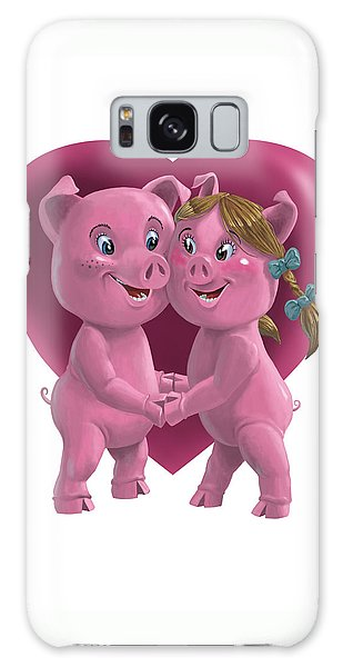 Pigs In Love Galaxy Case by Martin Davey