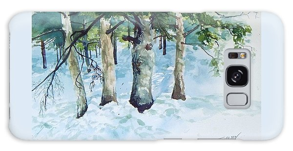 Pine Trees And Snow Galaxy Case by Joy Nichols