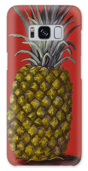 Pineapple On Red Galaxy Case