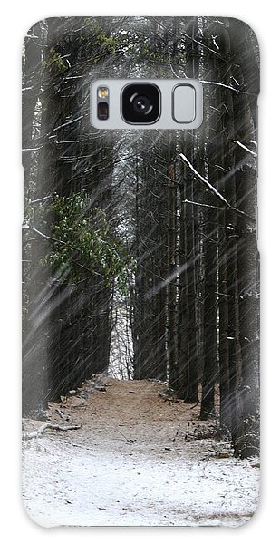 Pines In Snow Galaxy Case