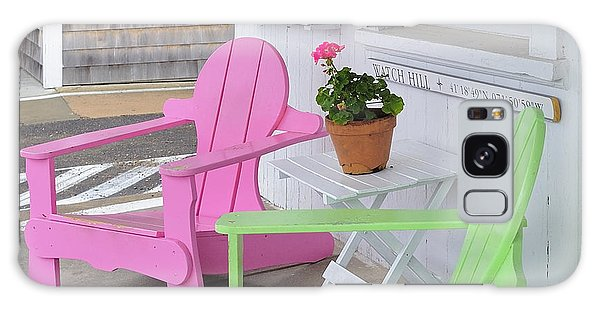 Pink And Green Chairs Watch Hill Rhode Island Galaxy Case by Marianne Campolongo