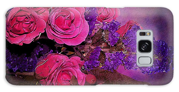 Pink And Purple Floral Bouquet Galaxy Case by Phyllis Denton