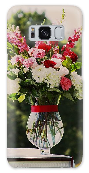 Pink And White Bouquet In Sepia Galaxy Case